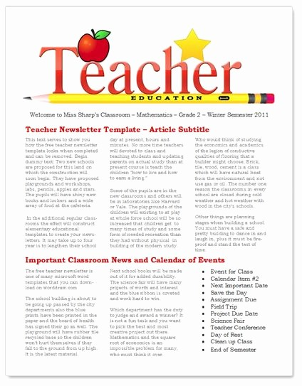 News Letter Templates for Teachers Elegant 45 Best Newsletter Templates Images On Pinterest