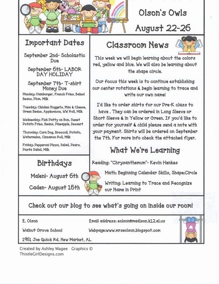News Letter Templates for Teachers Fresh 15 Best Newsletter Templates Images On Pinterest