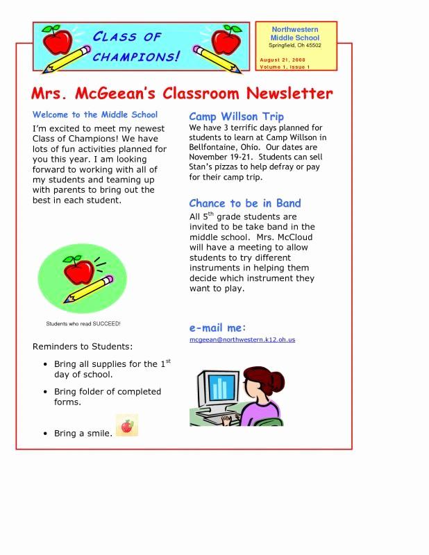 News Letter Templates for Teachers Fresh Teacher Newsletter Templates
