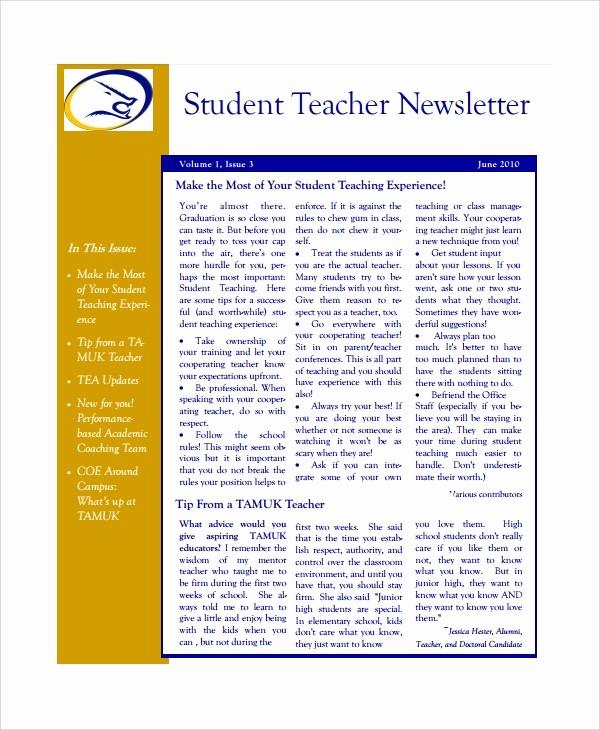 News Letter Templates for Teachers New 7 Teacher Newsletter Templates