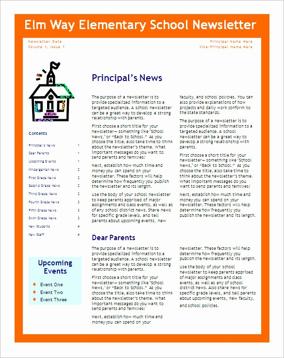 News Letter Templates In Word Best Of 5 School Newsletter Templates Doc Pdf