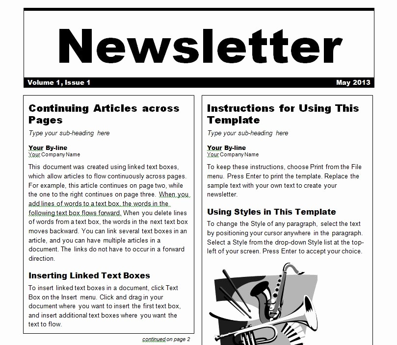 News Letter Templates In Word Fresh Newsletter Template