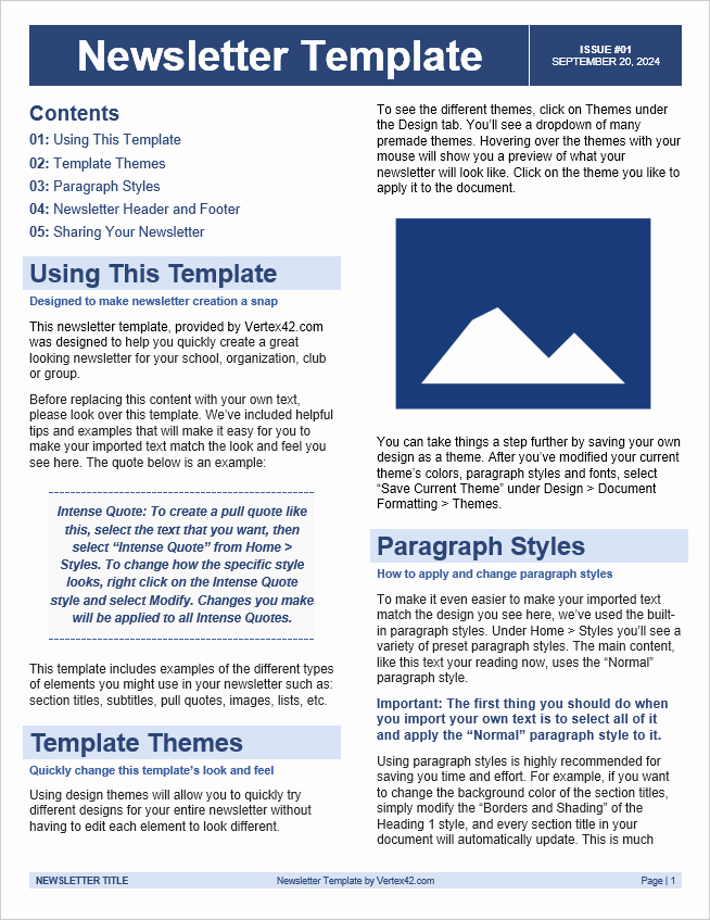 News Letter Templates In Word Unique Free Newsletter Templates for Word