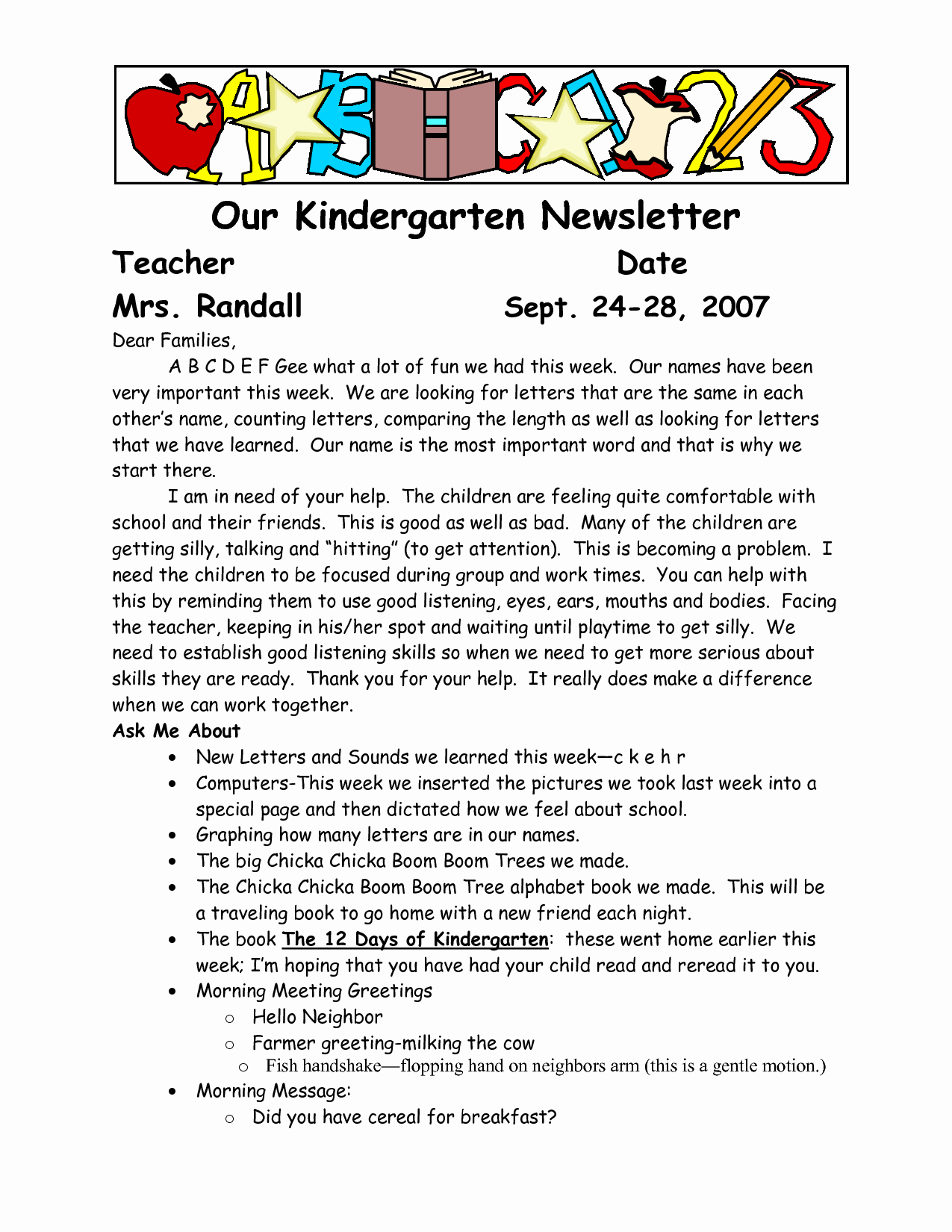 Newsletter for Parents From Teachers Awesome Sample Wel E to Kindergarten Letters