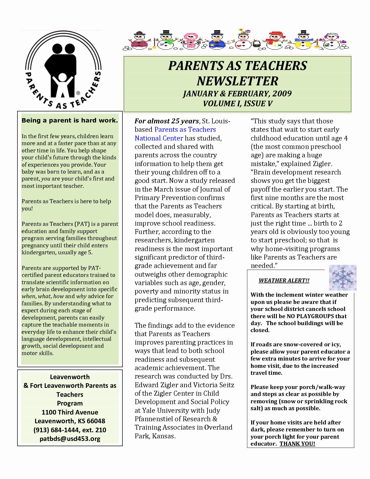 Newsletter for Parents From Teachers Elegant Best S Of Parent Newsletter Examples Sample Parent