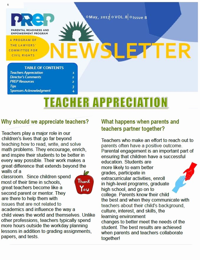 Newsletter for Parents From Teachers Elegant May Newsletter Teacher Appreciation Prep