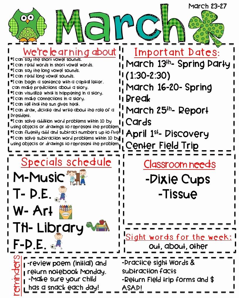 Newsletter for Parents From Teachers Fresh Classroom Newsletter Freebie Kickin It In Kindergarten