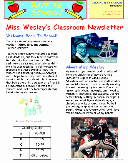 Newsletter for Parents From Teachers Fresh Productivitytools Lynnwesley1