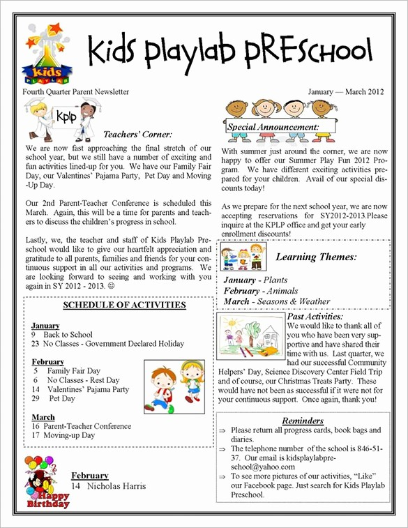 Newsletter for Parents From Teachers Luxury 13 Printable Preschool Newsletter Templates – Free Word