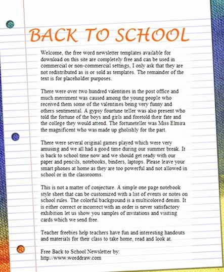 Newsletter for Parents From Teachers Luxury 15 Free Microsoft Word Newsletter Templates for Teachers
