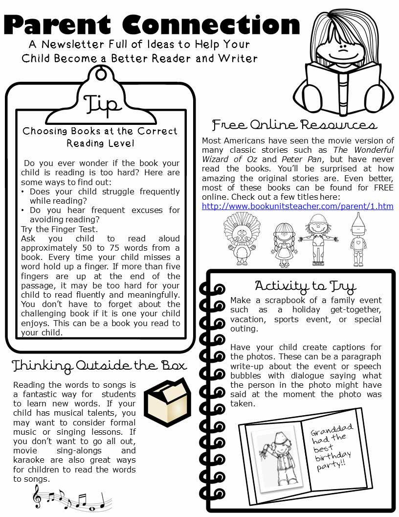 Newsletter for Parents From Teachers Unique Parent Connection Newsletter issue 1 Book Units Teacher