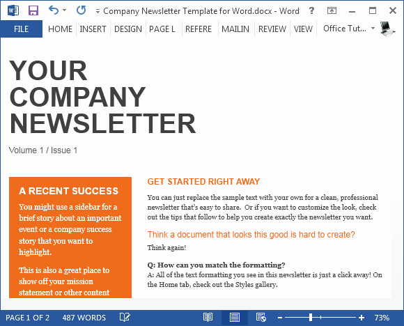 Newsletter Templates for Microsoft Word Elegant Free Pany Newsletter Template for Word