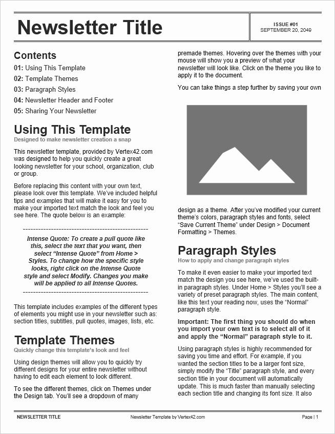 Newsletter Templates for Microsoft Word Fresh Free Newsletter Templates for Word