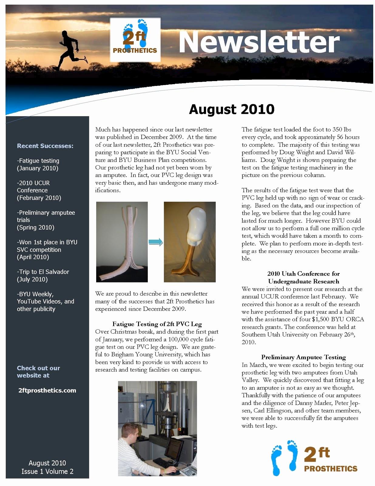 Newsletter Templates for Microsoft Word Inspirational 2ftprosthetics August Newsletter
