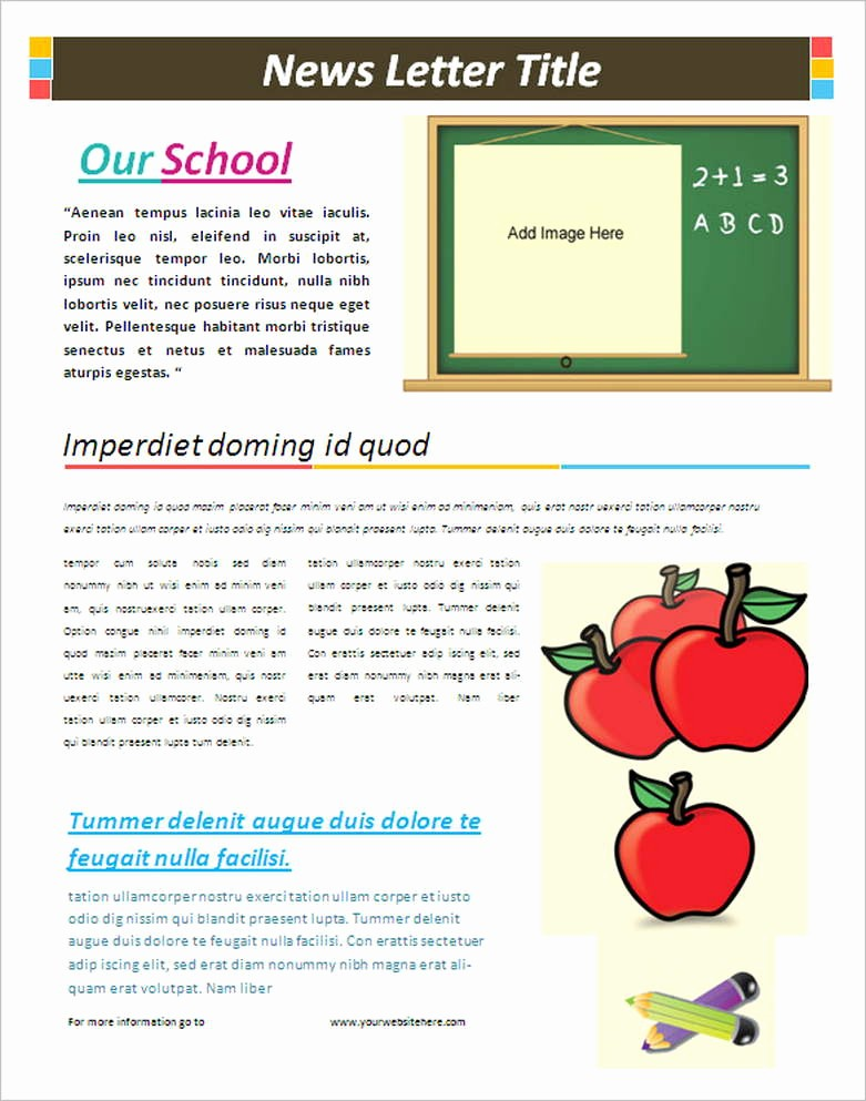 Newsletter Templates for Microsoft Word New School Newsletter Templates