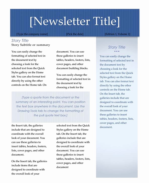 Newsletter Templates for Microsoft Word Unique Creating Columns for A Newsletter In Word 2007 or 2010