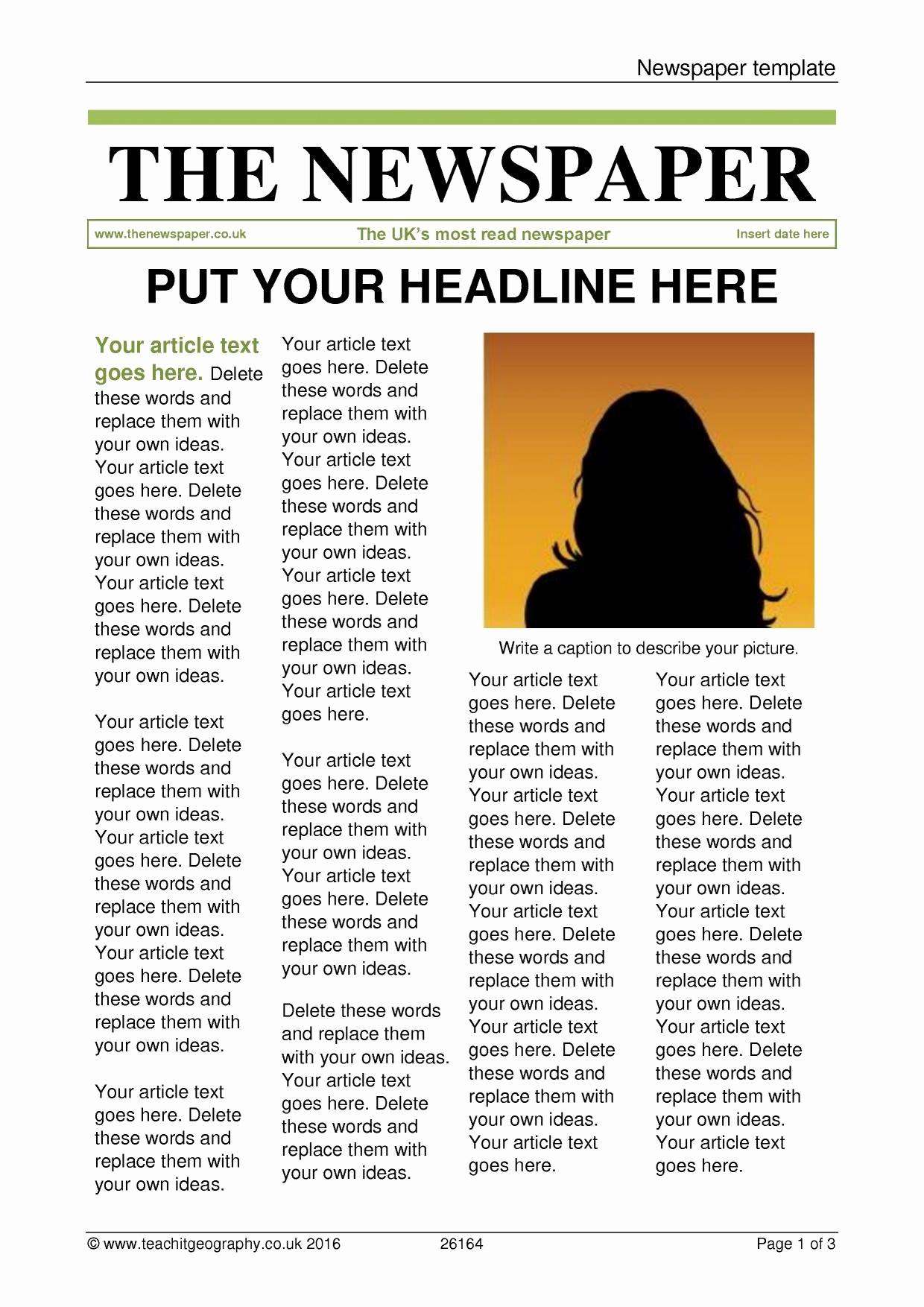 Newspaper Article Template Microsoft Word Beautiful Newspaper Template