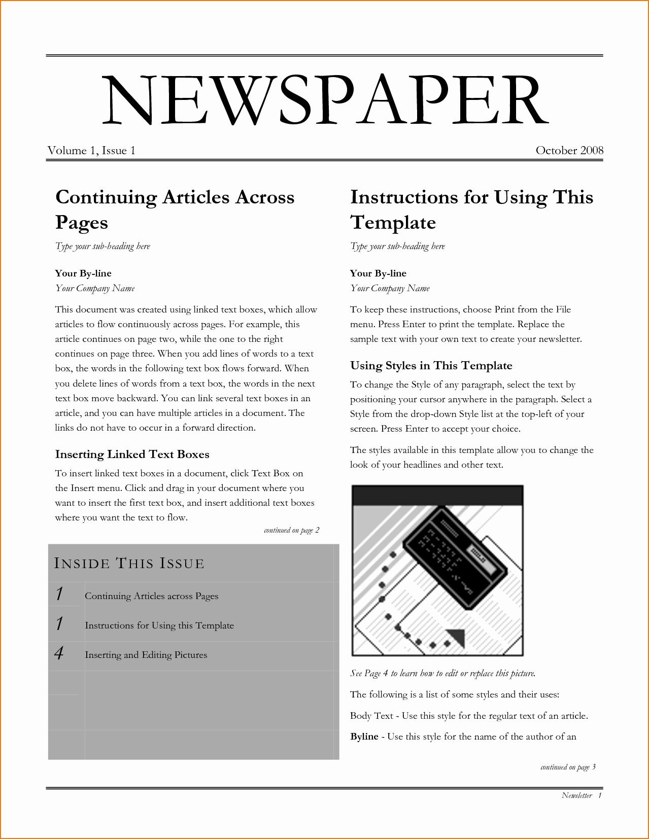 Newspaper Article Template Microsoft Word Best Of 6 Newspaper Template Word
