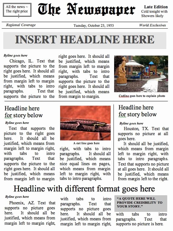 Newspaper Article Template Microsoft Word Fresh Front Page Newspaper Template Ms Word Document