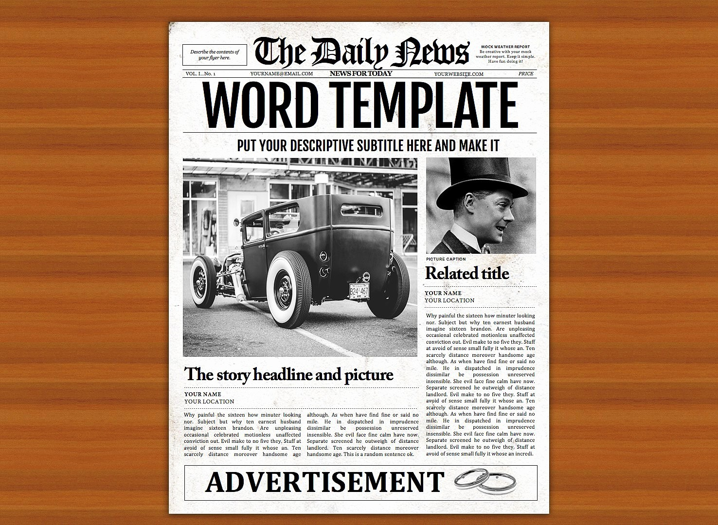 Newspaper Template for Word 2010 Awesome Vintage Word Newspaper Template Flyer Templates