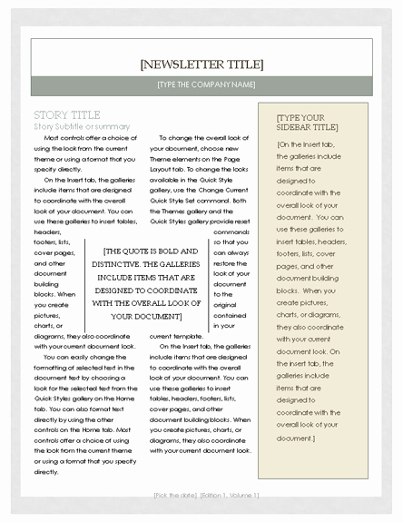 Newspaper Template for Word 2010 Inspirational Free Newsletter Template – Microsoft Word Newsletter