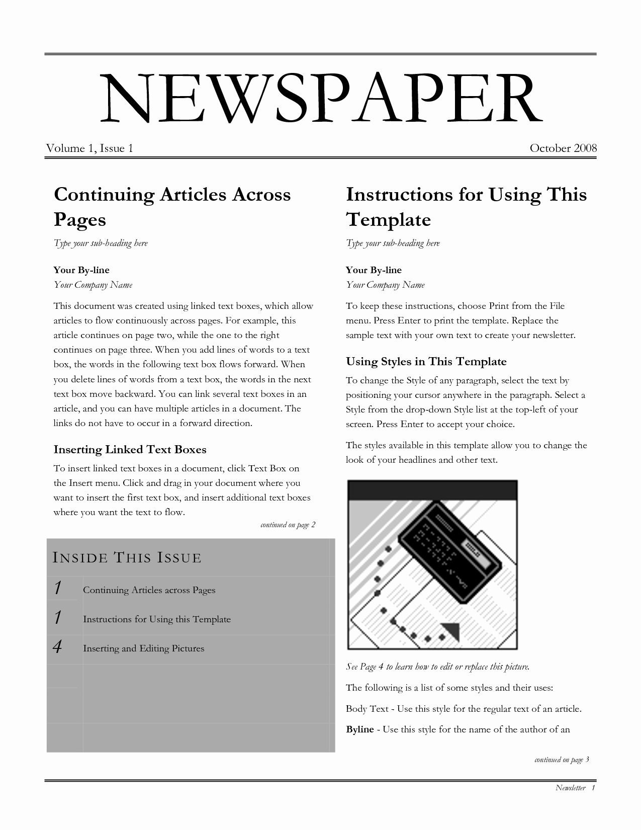 Newspaper Template for Word 2013 Elegant Best S Of Newspaper Layout Template for Word