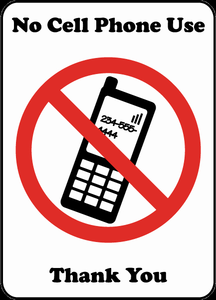 No Cell Phone Use Sign New No Cell Phone Use Thank You Sign by Safetysign F7220