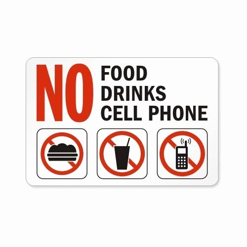 No Cell Phones Sign Printable Awesome Food Drinks Gum