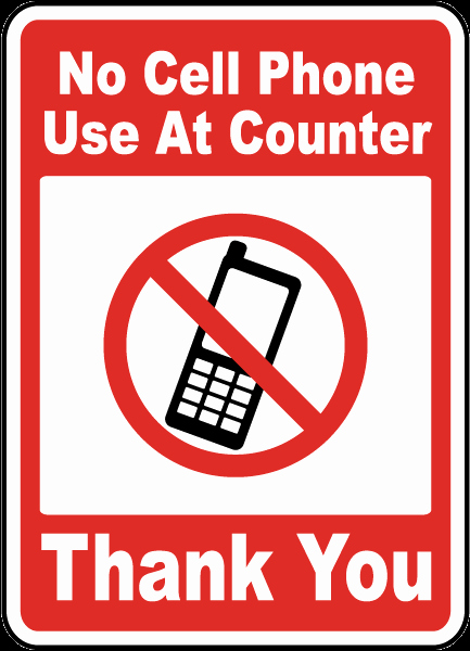 No Cell Phones Sign Printable Best Of No Cell Phone Use at Counter Sign F7200 by Safetysign