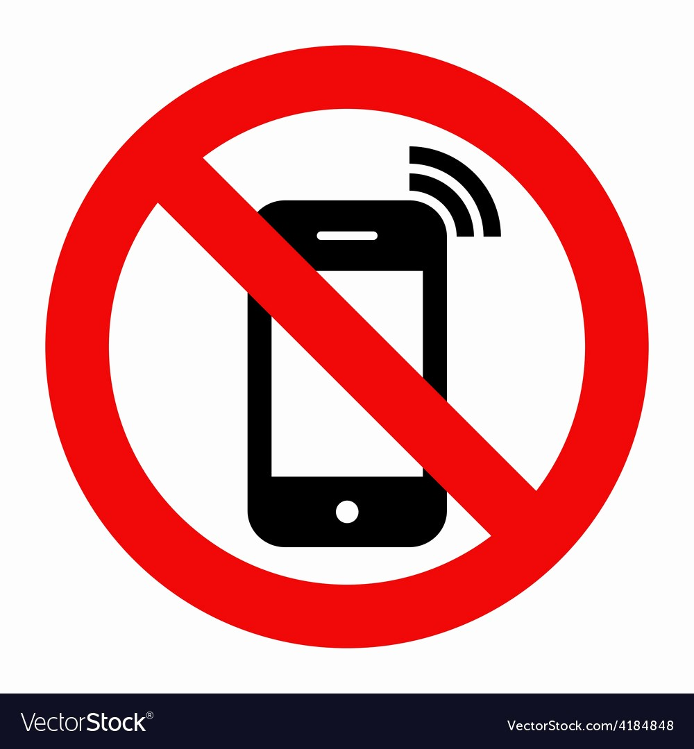 No Cell Phones Sign Printable Lovely No Cell Phone Sign Royalty Free Vector Image Vectorstock