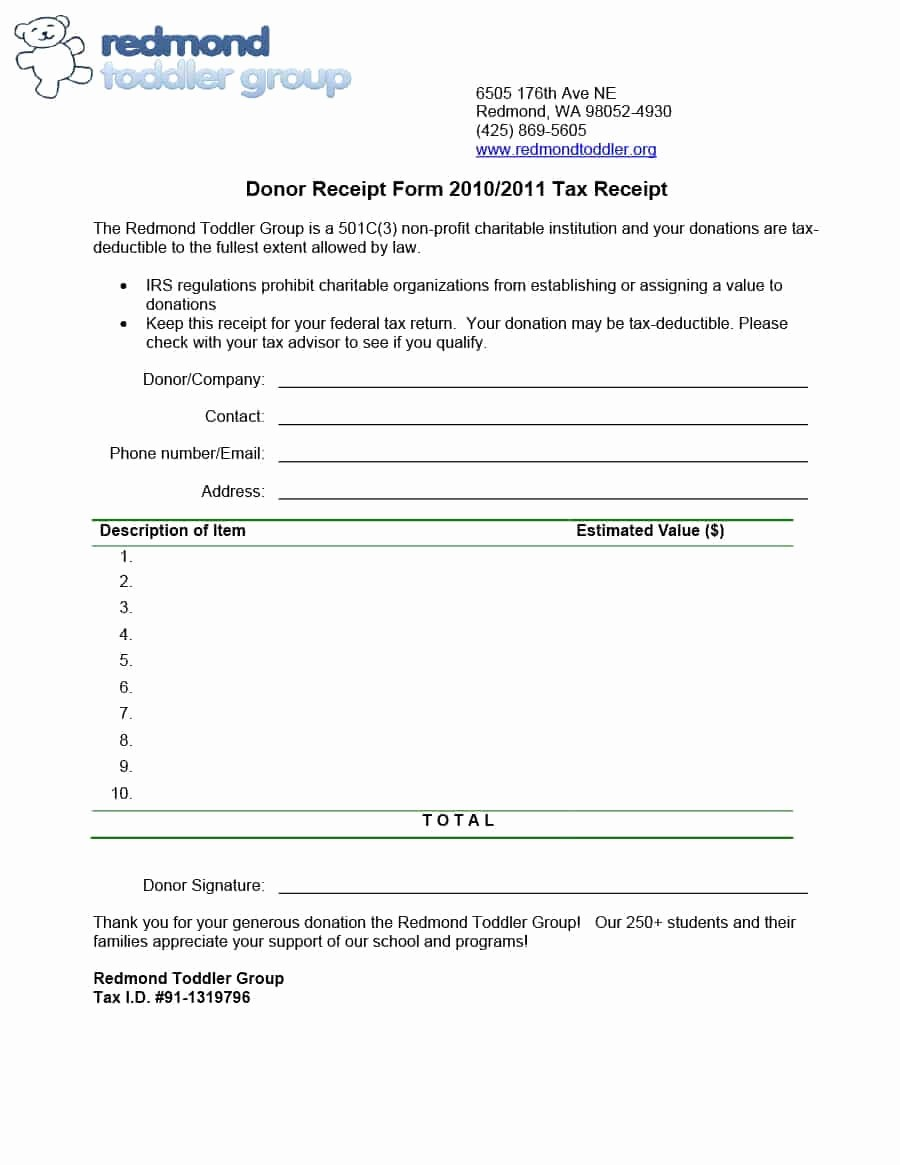 Non Profit Donation form Template Best Of 40 Donation Receipt Templates & Letters [goodwill Non Profit]