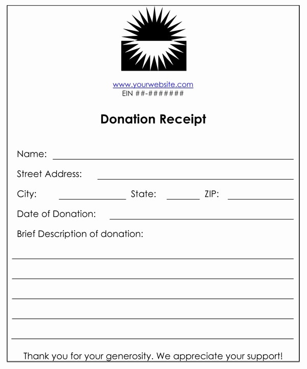 Non Profit Donation form Template New Non Profit Donation Receipt
