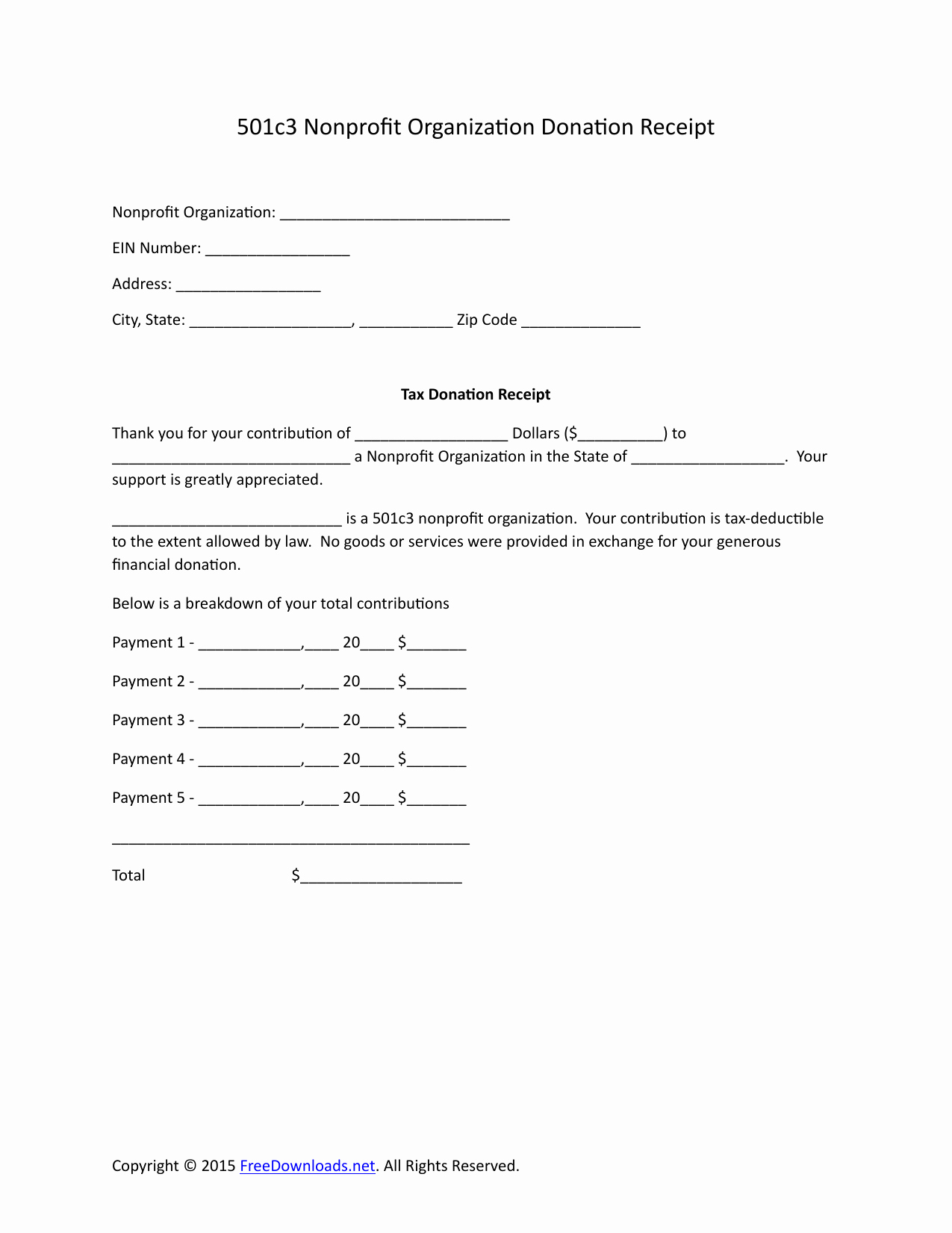 Non Profit Donation Receipt form Beautiful Download 501c3 Donation Receipt Letter for Tax Purposes