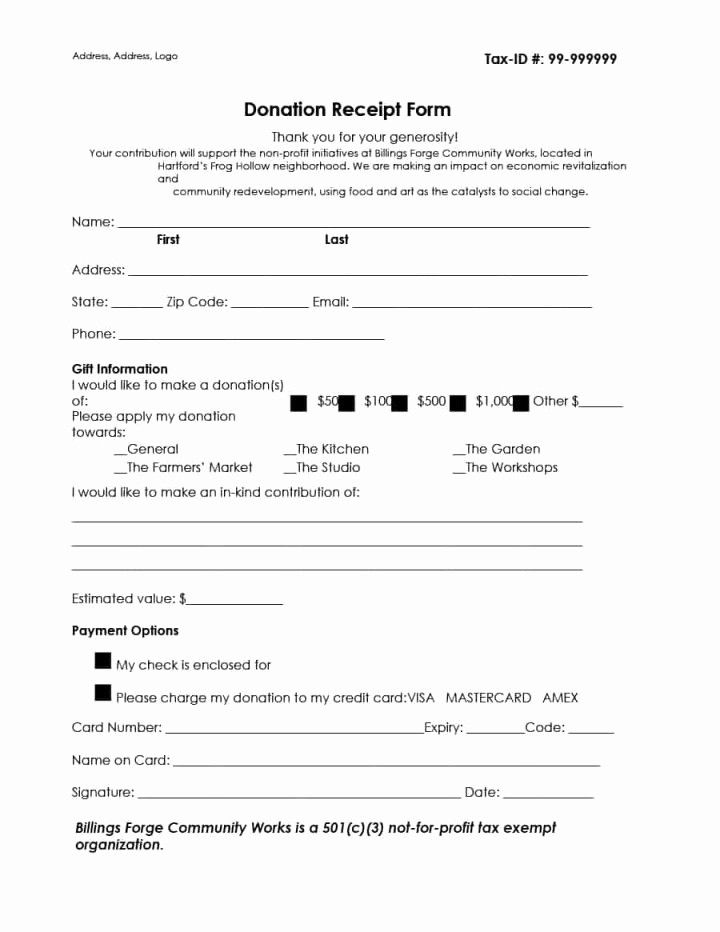 Non Profit Donation Receipt form Best Of 501c3 form Sample