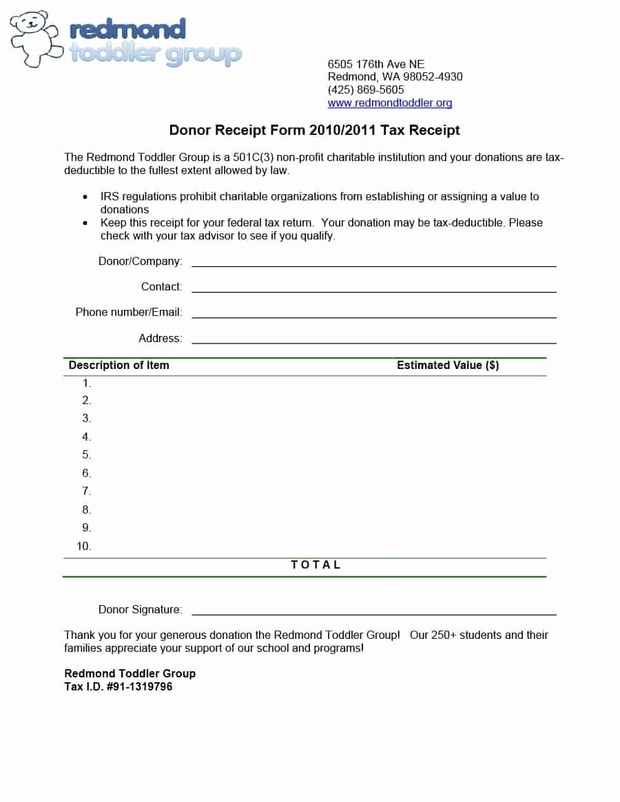 Non Profit Donation Receipt form Elegant 40 Donation Receipt Templates & Letters [goodwill Non Profit]