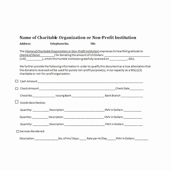 Non Profit Donation Receipt form Inspirational Charitable Donation Receipts Requirements as Supporting
