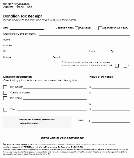 Non Profit Donation Receipt form Luxury Donation Receipt Template 12 Free Samples In Word and Excel