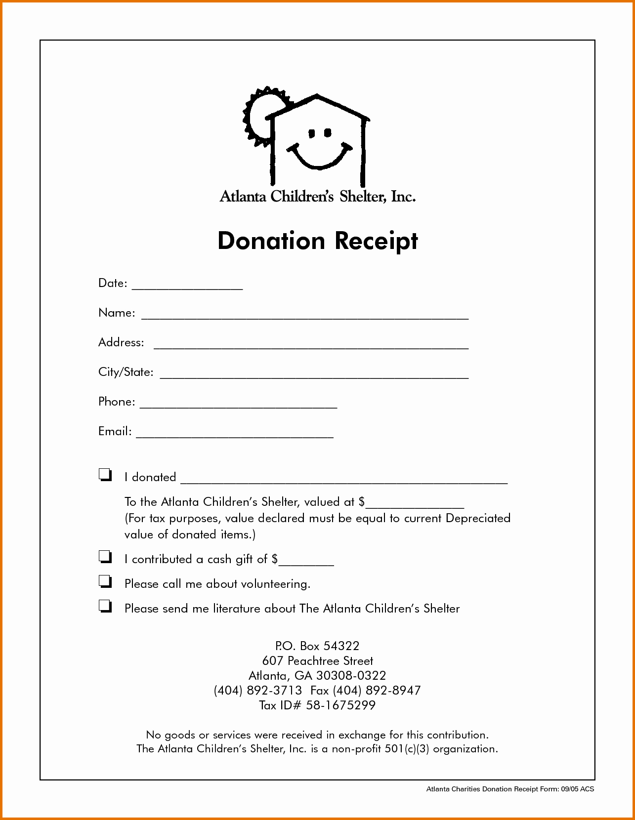 Non Profit Donation Receipt form New Non Profit Donation Receipt Templatereference Letters