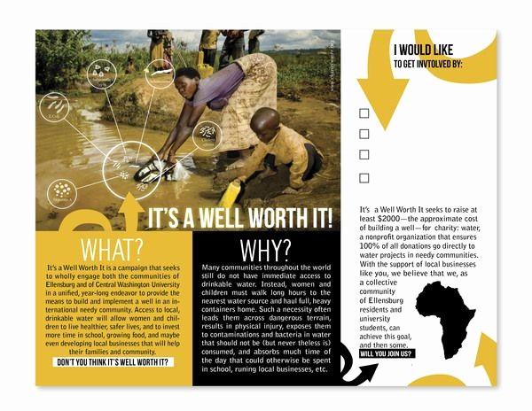 Non Profit organization Brochure Sample New Charity Water Brochure Fundraising Brochure