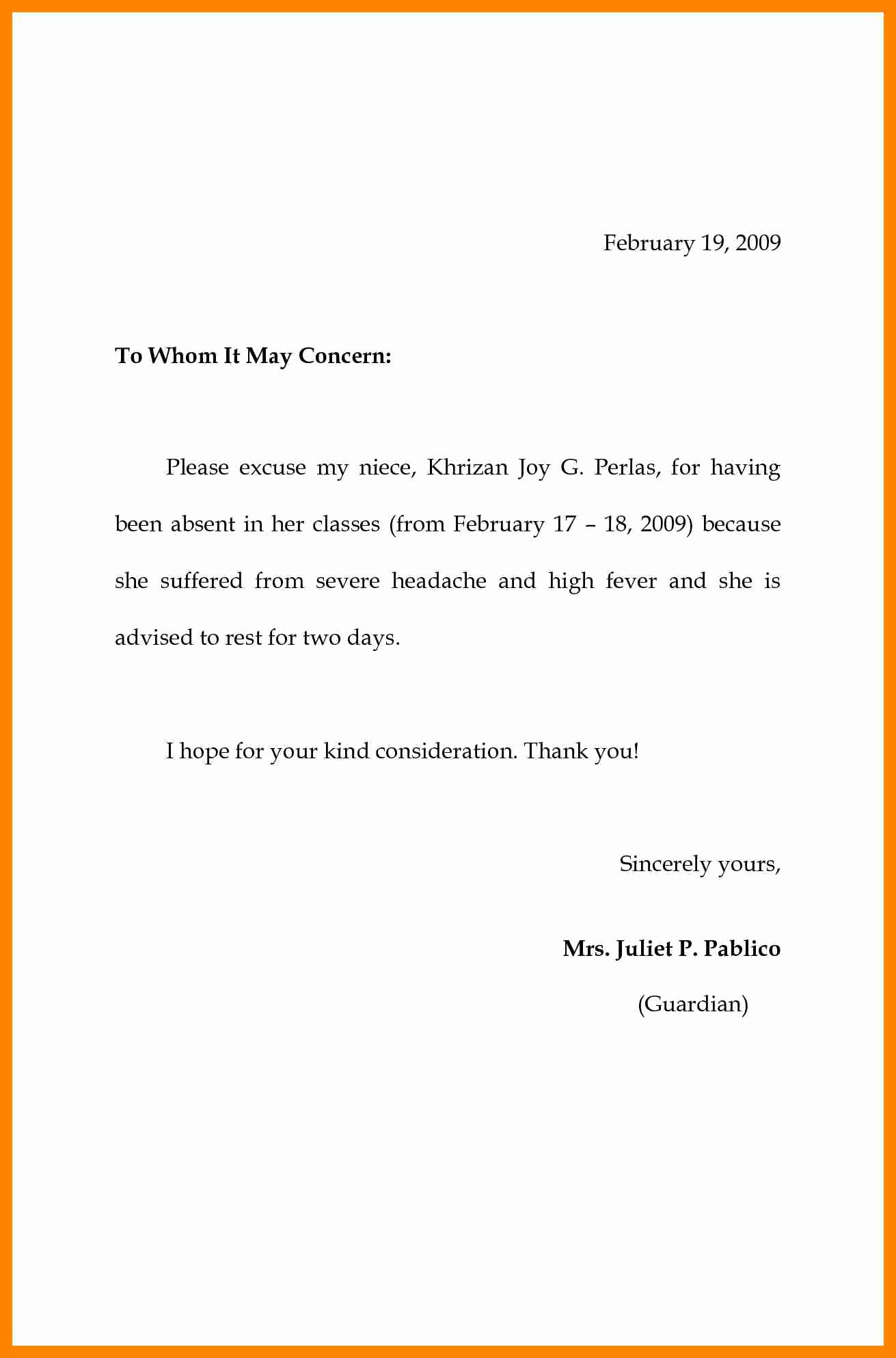 Note to School for Absence Best Of 8 Excuse Letter for Absent