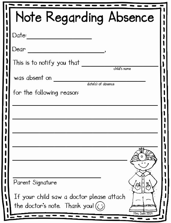 Note to School for Absence Elegant Absent Note Freebie