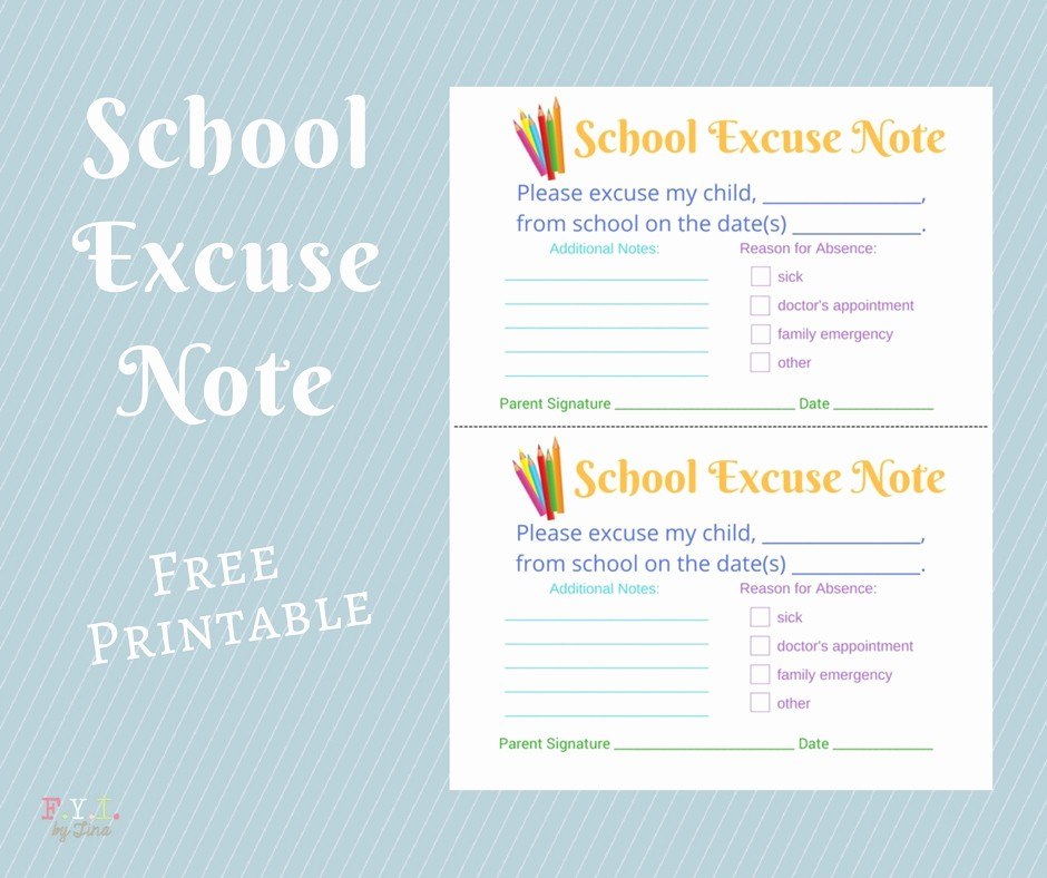 Note to School for Absence Elegant School Excuse Note Free Printable • Fyi by Tina