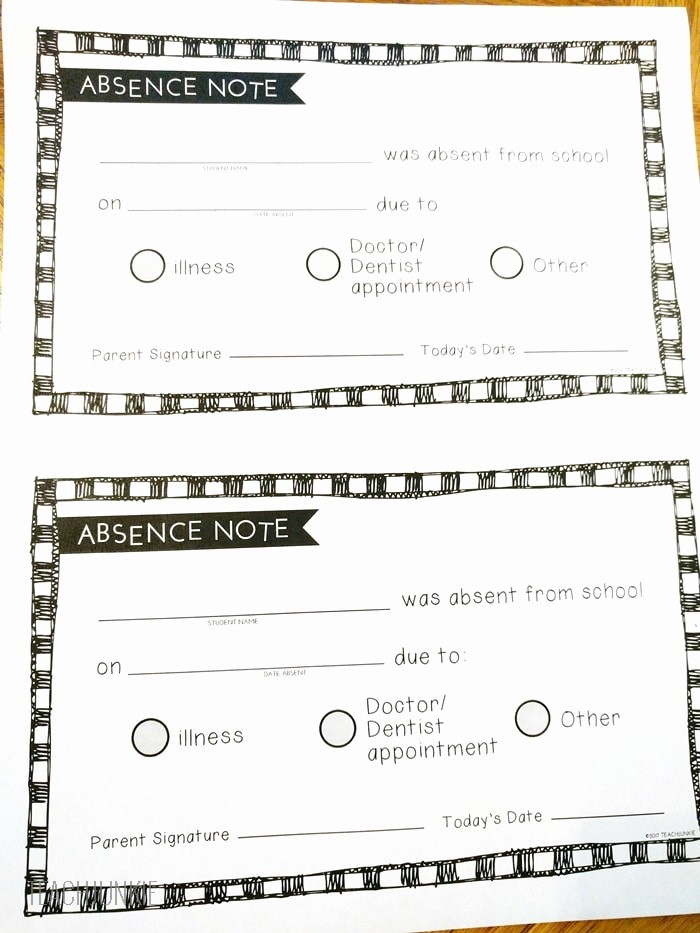 Note to School for Absence Fresh Free Printable Absence Notes for the Elementary Classroom