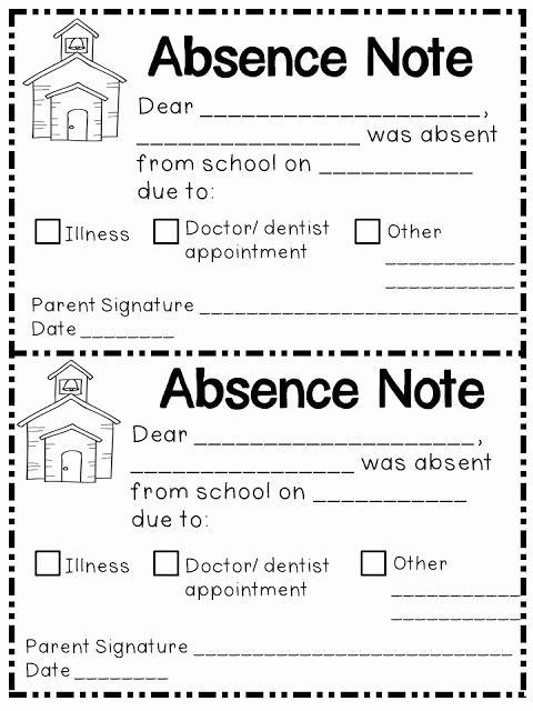 Note to School for Absence Lovely Jen S Kinder Kids Absence Notes
