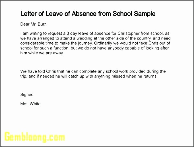 Note to School for Absence New Absent Note for School format Efficient Letter Absence