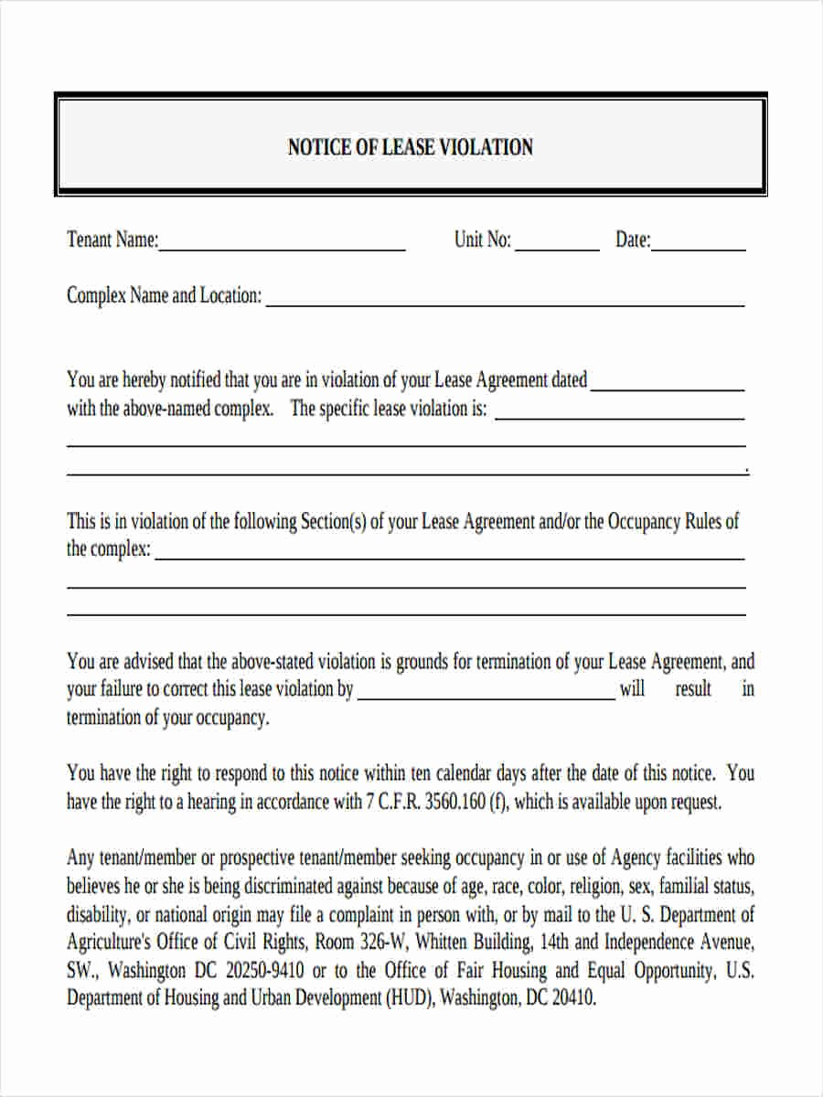 Notice Of Lease Violation Template Awesome Notice Of Violation form 8 Free Documents In Word Pdf