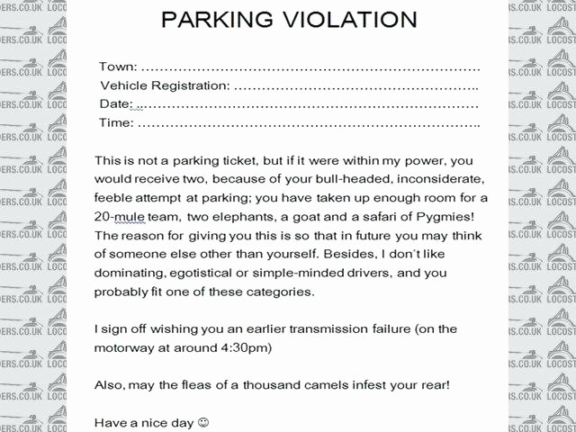 Notice Of Lease Violation Template Awesome Parking Notice Template Fake Ticket Printable Citation