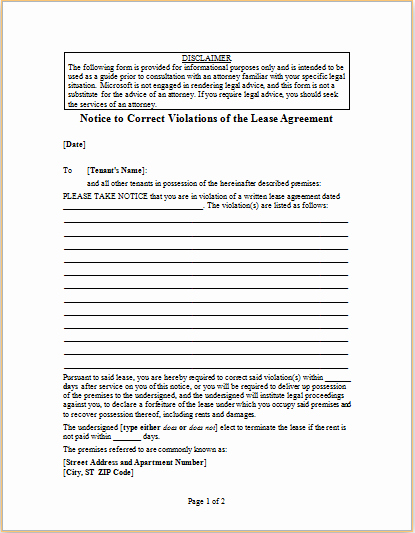 Notice Of Lease Violation Template Beautiful Letter to Correct Violations Of Lease Agreement