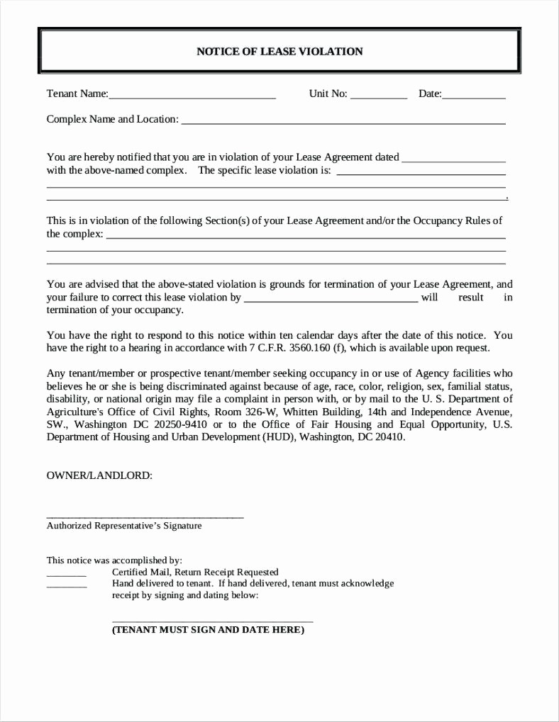 Notice Of Lease Violation Template Beautiful Template Benchmarking Template