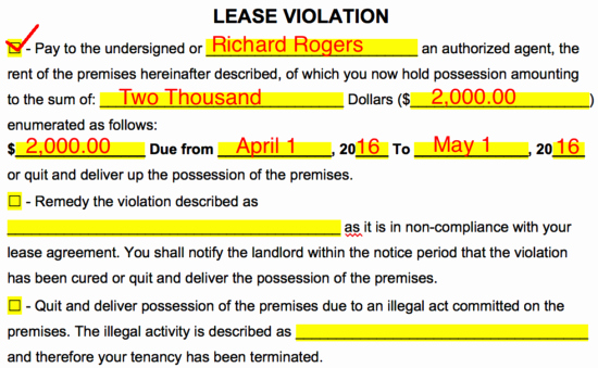 Notice Of Lease Violation Template Elegant Free Eviction Notice forms Notices to Quit Pdf